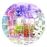 Cidade do inverno da aquarela Fotografia de Stock