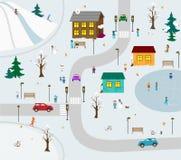 Cidade do inverno dos miúdos Fotos de Stock Royalty Free