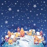 Cidade do inverno na noite ilustração stock