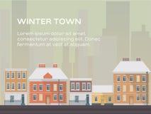 Cidade do inverno na paleta bege ilustração do vetor