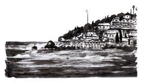 Cidade do lado de mar Imagem de Stock