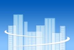 Cidade do negócio com linhas protetoras Fotos de Stock Royalty Free