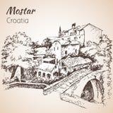 Cidade do Od de Mostar, Croácia Croácia esboço isolado em b branco Imagens de Stock
