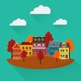Cidade do outono com casas e árvores Imagem de Stock