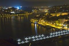 Cidade do rio da noite imagem de stock royalty free