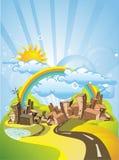 Cidade do verão dos desenhos animados Foto de Stock Royalty Free
