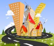 Cidade do vetor dos desenhos animados - verão Imagens de Stock Royalty Free