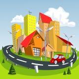 Cidade dos desenhos animados do verão. Ilustração Imagem de Stock Royalty Free