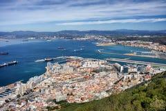 Cidade e baía de Gibraltar Fotos de Stock Royalty Free