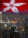 Cidade e bandeira de Hong Kong Fotos de Stock