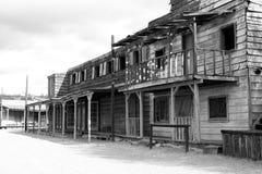 Cidade e bar ocidentais selvagens velhos Fotografia de Stock