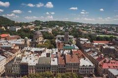 Cidade e céu no dia Fotografia de Stock