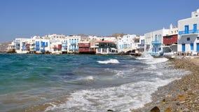 Cidade e console Mykonos, Greece foto de stock
