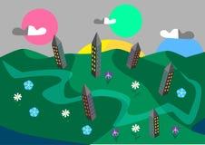 Cidade e flores verdes ilustração do vetor