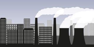 Cidade e ind?stria com polui??o atmosf?rica da ind?stria da polui??o do ar e emiss?o de g?s nociva ilustração stock