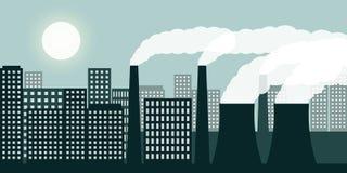 Cidade e ind?stria com polui??o atmosf?rica da ind?stria da polui??o do ar e emiss?o de g?s nociva ilustração royalty free