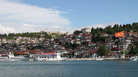 Cidade e lago Ohrid vídeos de arquivo
