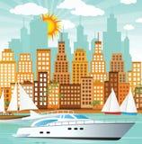 Cidade e mar Fotografia de Stock Royalty Free