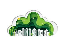 A cidade e a natureza verdes ajardinam a camada de papel da arte do origâmi ilustração stock