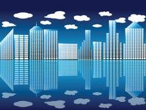 Cidade e nuvens ilustração stock