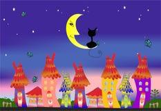 A cidade e o gato Imagens de Stock Royalty Free
