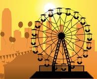 Cidade e parque de diversões Foto de Stock