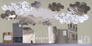 Cidade e poluição - arte -final Imagens de Stock
