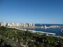 Cidade e porto de Malaga Fotos de Stock Royalty Free