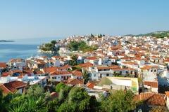 Cidade e porto de Skiathos Foto de Stock
