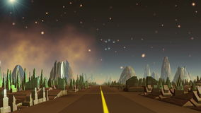 Cidade e UFO estrangeiros ilustração stock
