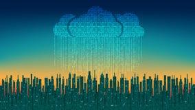A cidade em linha A cidade digital futurista abstrata, chuva binária, nuvem conectou, fundo da alto-tecnologia ilustração royalty free