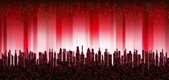 A cidade em linha Cidade digital futurista abstrata, cidade do connectThe da nuvem em linha Cidade digital futurista abstrata, nu ilustração do vetor