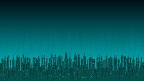 Cidade em linha Cidade digital futurista abstrata, fundo da informação da olá!-tecnologia ilustração do vetor