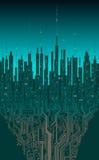 Cidade em linha Cidade digital futurista abstrata, informati da olá!-tecnologia ilustração do vetor