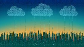 A cidade em linha A cidade digital futurista abstrata, nuvem conectou, fundo da alto-tecnologia ilustração do vetor