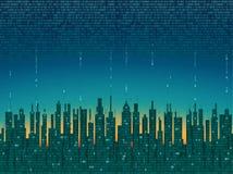 A cidade em linha A cidade digital futurista abstrata, nuvem conectou, fundo da alto-tecnologia ilustração stock
