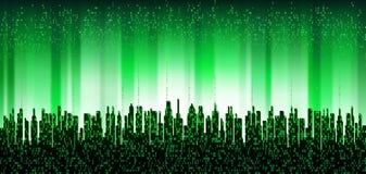 A cidade em linha A cidade digital futurista abstrata, nuvem conectou, fundo da skyline ilustração royalty free