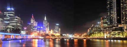 Cidade em a noite - Victoria - Austrália de Melbourne fotografia de stock royalty free