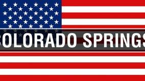 Cidade em um fundo da bandeira dos EUA, de Colorado Springs rendição 3D Bandeira de Estados Unidos da América que acena no vento  ilustração do vetor
