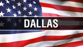 Cidade em um fundo da bandeira dos EUA, de Dallas rendição 3D Bandeira de Estados Unidos da América que acena no vento Bandeira a ilustração royalty free