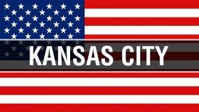 Cidade em um fundo da bandeira dos EUA, de Kansas City rendição 3D Bandeira de Estados Unidos da América que acena no vento Bande ilustração stock
