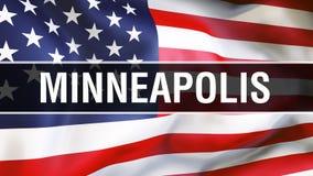 Cidade em um fundo da bandeira dos EUA, de Minneapolis rendição 3D Bandeira de Estados Unidos da América que acena no vento Bande ilustração do vetor