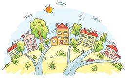 Cidade em um monte ilustração royalty free