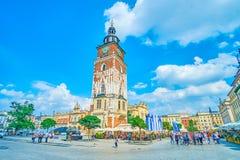 A cidade enorme Hall Tower em Krakow, Polônia Fotos de Stock