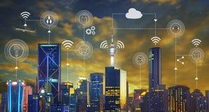 Cidade esperta e rede de comunicação sem fio ilustração stock