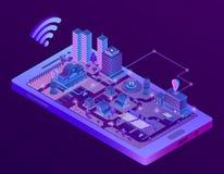 Cidade esperta isométrica do vetor na tela do smartphone ilustração do vetor