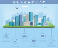 Cidade esperta Paisagem urbana com elementos infographic Cidade moderna Tamplate do Web site do conceito Vetor Fotos de Stock