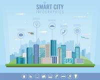 Cidade esperta Paisagem urbana com elementos infographic Cidade moderna Tamplate do Web site do conceito Vetor Imagens de Stock Royalty Free