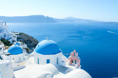 A cidade espetacular de Oia em Santorini, Grécia Imagens de Stock Royalty Free