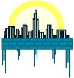Cidade estilizado Imagens de Stock Royalty Free